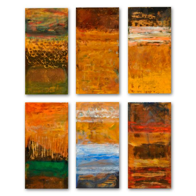 Abstract on Copper Rectangles Outdoor Wall Art | Frontgate