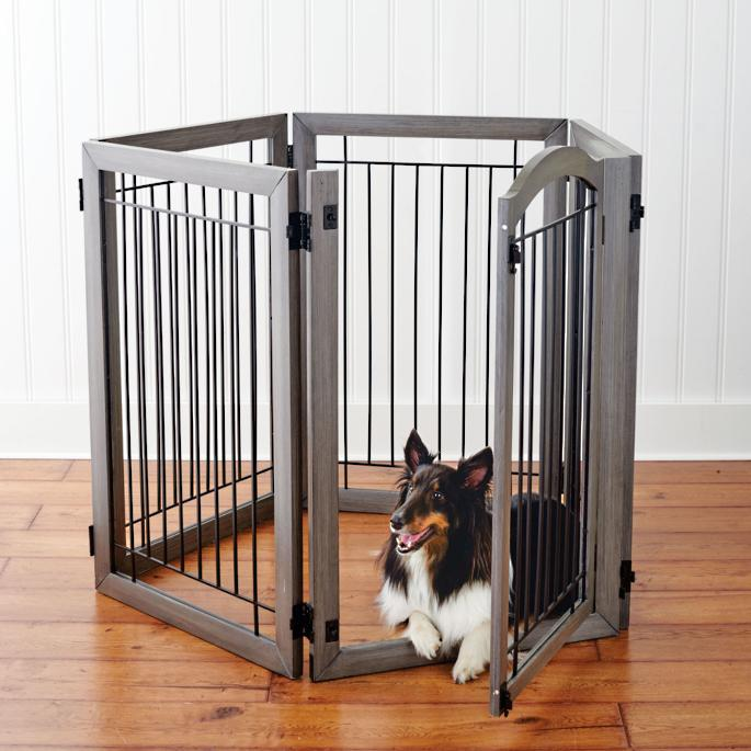 Six Panel Hardwood Pet Gate To Crate Frontgate