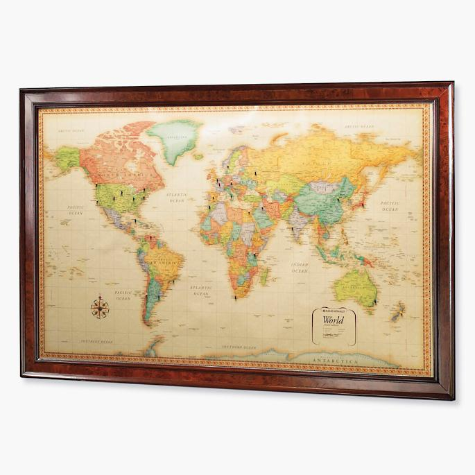 World magnetic travel map with burlwood frame frontgate world magnetic travel map with burlwood frame gumiabroncs Image collections